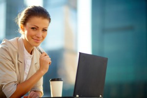business women with virtual office